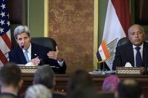 John Kerry with Egyptian FM Sameh Shoukry. (Brendan Smialowski/Pool Photo via AP)