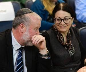 Israeli attorney General Avichai Mandelblit with president of Supreme Court Esther Hayut, at Bar Ilan University. March 04, 2020. (Flash90)