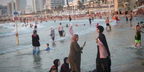 Arabs at the beach in Tel Aviv